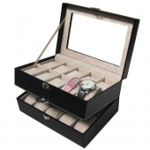 Hot Sale Double-layer 20 Grid PU Leather Watch Display Box Jewelry Storage Organizer Watches Case
