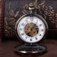 New Vintage Alloy Steampunk Bronze Necklace Pendant Chain Skeleton Mechanical Pocket Watch Gift