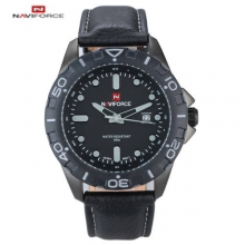 2016 Top Brand Naviforce Men's Watch PU Leather Strap Waterproof Quartz Wristwatch Analog Date Military Sports Watch Clocks
