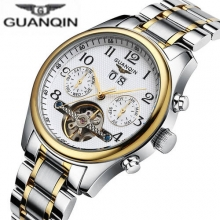 Fashion Luxury Brand GUANQIN Men Tourbillon Watches Mechanical Watch Waterproof 100m Male Wristwatch relogio masculino Gift