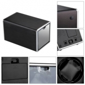 New Black Automatic Mute Metal Watch Winder Cylinder Display Case Box Gift