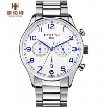 Luxury Brand HOLUNS Men's Date Function Quartz Watch Full Stainless Steel Men Business Wristwatch