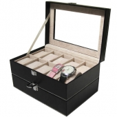 New PU Leather Watch Display Box Double-layer 20 Grid Watch Case Jewelry Storage Organizer Promotion