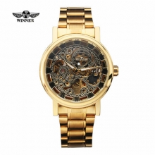 2016 New WINNER Men Luxury Watch Automatic Mechanical Skeleton Business Casual Stainless Steel Strap Waterproof Analog Clock