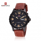 Naviforce Luxury Brand Men's Quartz Watch Genuine Leather Strap Date Day Casual Sports Watch Male Wristwatch relogio masculino