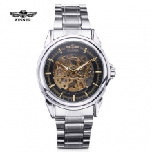New WINNER Men Automatic Wind Mechanical Skeleton Watches Fashion Casual Stainless Steel Band Male Wristwatch Relogio Masculino