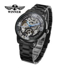 New WINNER Roman Numerals Sports Men Business Auto Wind Mechanical Skeleton Stainless Steel Band Wristwatch Relogio Masculino