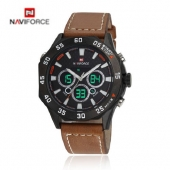 2016 Luxury Brand NAVIFORCE Men's Quartz Watches LED Digital Dual Time Leather Strap Military Clocks Sports Wrist Watch