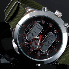 New Fashion Mens Watches Sports &Outdoors Watch Nylon Strap Compass Dual Time Men's Wrist Quartz-LED Digital Watch Gifts