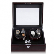 Shipping From US New Brown Automatic 4+6 Leather Watch Winder Storage Display Case Watch Winder Gift
