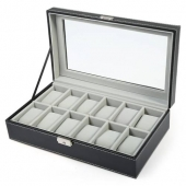 Classic Fashion 12 Grids PU Leather Watch Case With Transparent Cover Box Jewelry Display horloge box