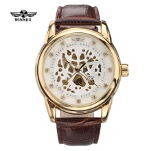 New WINNER Men Big Dial Fashion Sports Business Automatic Mechanical Skeleton Leather Band Hot Sale Wristwatch Relogio Masculino