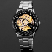 Luxury Brand Men's Watches Business Watch Men Hollow-out Automatic Mechanical Watch Round Dial With Stainless Steel Band relogio