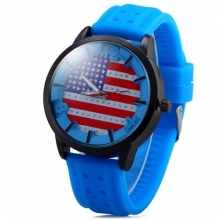 Top Brand New Men's Watch Sports Watches Men Quartz Watch Analog Diamond Round Dial American Flag Rubber Watchband for Men