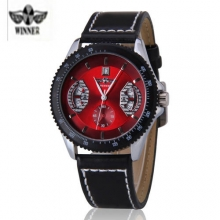 Fashion Luxury Brand Winner Leather Strap Men's Mechanical Hand Wind Wristwatch Male Watches Clocks Gifts relojes hombre