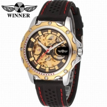 New WINNER Men Sports Transparent Automatic Skeleton Mechanical Watches Male Hot Casual Silicon Wristwatch Relogio Masculino