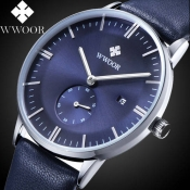 2016 Fashion Brand WWOOR 8808 Men's Watch Leather Strap Calender Luminous Male Quartz Casual Sports Wrist Watch Christmas Gifts