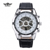 New WINNER Men Automatic Mechanical Date Display Analog Leather Strap Sports WristWatch Fashion Clock For Male Masculino Relojes