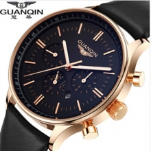 New Luxury Brand GUANQIN Men's Watches Big Dial Sapphire Mirror Quartz Watch Male Wristwatch Clocks relogio masculino relojes