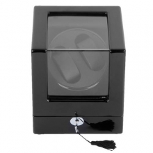 Shipping From Russian New High Quality Black Rectangle Mute Automatic Double Watch Winder Box Gift